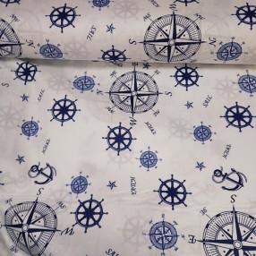 Бязь Ranforce морская тема, синие штурвалы