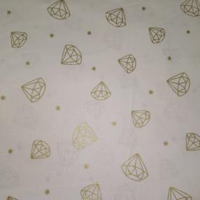 Бязь Ranforce кристаллы из золотого глиттера на белом фоне