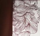 """Сатин. """"Элит"""" коричневые цветы на белом фоне"""