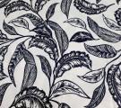 Бязь Ranforce  темно-синие листья на белом фоне