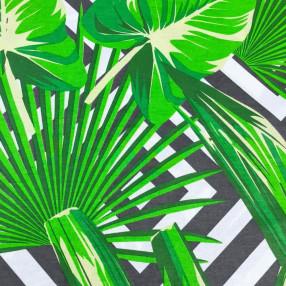 Бязь Ranforce зеленые листья на фоне черных квадратов