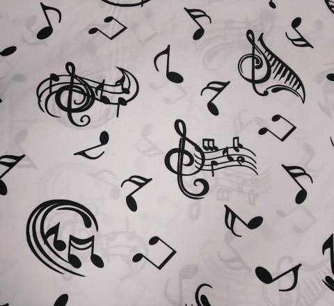 Бязь Ranforce черные ноты на белом фоне