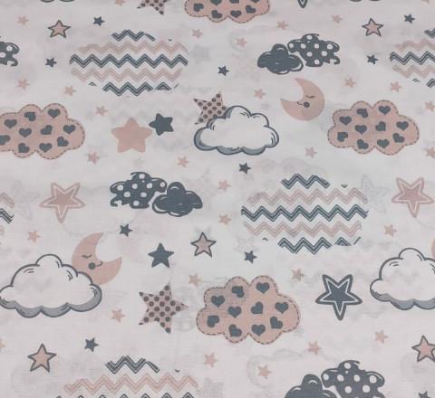Бязь Ranforce пыльно-розовые и серые облака-зигзаги