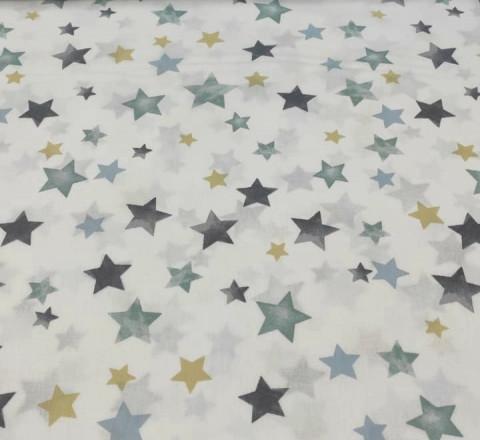 Бязь Ranforce  бирюзовые звезды акварель