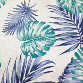 Бязь Ranforce  Монстера и папоротник; синий и бирюзовый цвет