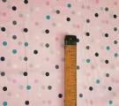 Бязь Ranforce разноцветные горошки на розовом фоне