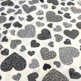 Бязь Ranforce  серо-черные сердца