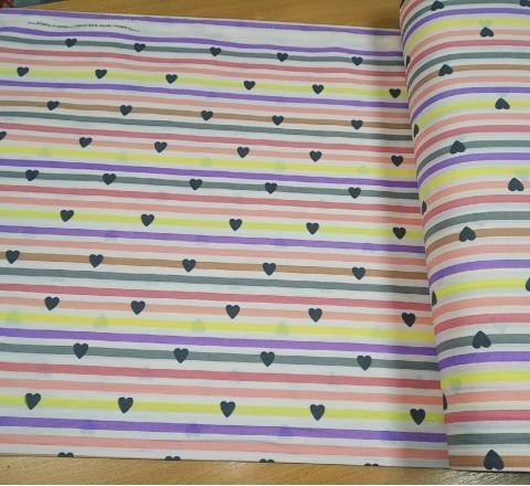 Бязь Ranforce радужная полоса и сердечки (основные тона: розовый, желтый, серый, фиолетовый)
