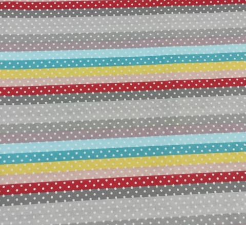 Бязь Ranforce радужная полоса (основные тона: серый, красный, голубой, желтый)