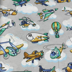 Бязь Ranforce самолеты на сером фоне