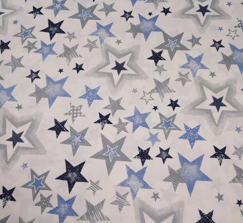 Бязь Ranforce серо-синие звезды разные