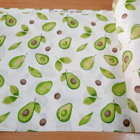 Бязь Ranforce  Акварельные авокадо на белом фоне