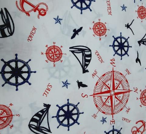 Бязь Ranforce морская тема, синие и красные штурвалы