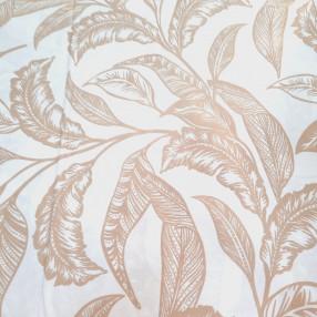 Бязь Ranforce  бежевые листья на белом фоне