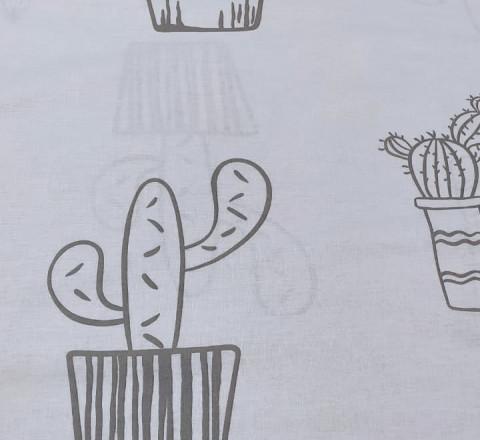 """Поплин ш220см. """"Серые кактусы на белом фоне"""""""