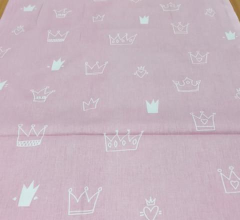 Бязь Ranforce карикатурные короны на розовом фоне