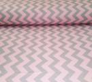 Бязь Ranforce розово-серый зигзаг