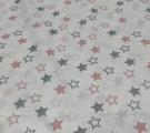 Бязь Ranforce пыльно-розовые и серые звезды