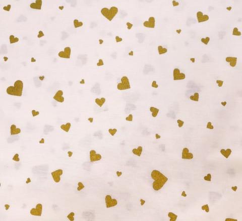Бязь Ranforce с глиттером Золотые сердечки
