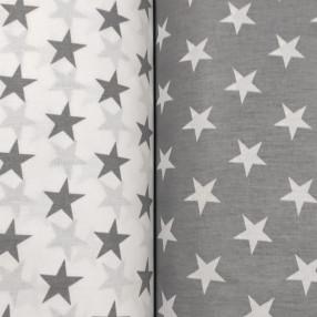 Бязь Ranforce серые звезды на белом фоне крупные