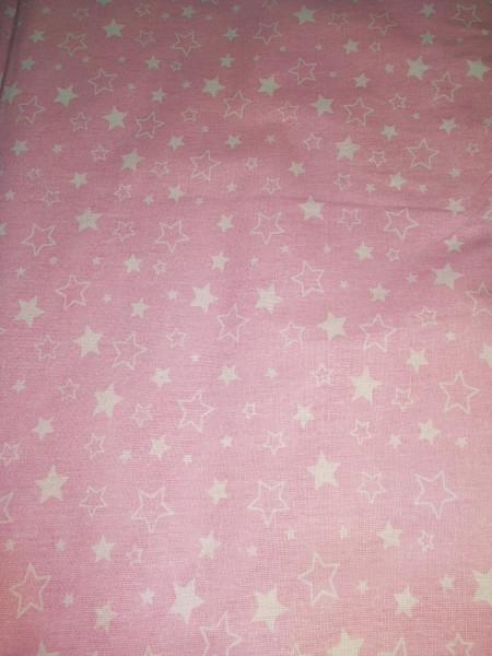 Бязь модная. Белые звездочки на розовом фоне