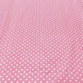 Бязь Ranforce белый горох на розовом фоне крупный