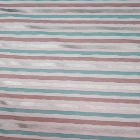 Бязь Ranforce с глиттером мятно-серебристые полоски