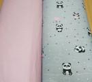 Бязь Ranforce панды на сером фоне с розовым