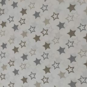 Бязь Ranforce звезды темно-серые, коричневые и бежевые