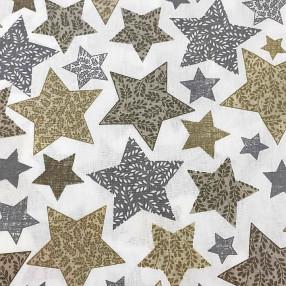 Бязь Ranforce  серо-коричневые звезды