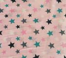 Бязь Ranforce разноцветные звезды на розовом фоне