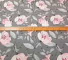 Бязь Ranforce  Розовые цветы на сером фоне
