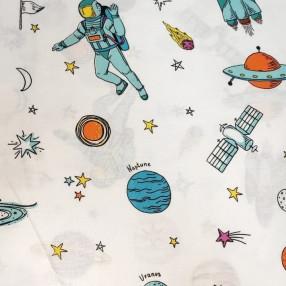 Бязь Ranforce Космонавты в космосе на белом фоне