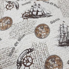 Бязь Ranforce морская тема, коричневые глобусы