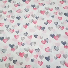 Бязь Ranforce  Сердечки серые и розовые