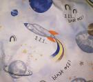 Бязь Ranforce ракеты и планеты на голубом фоне