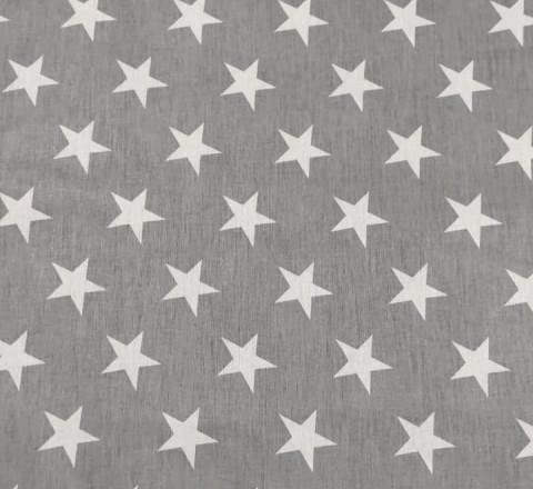 Бязь Ranforce белые звезды на сером фоне крупные