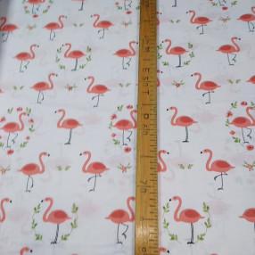 Бязь Ranforce розовые фламинго на белом фоне