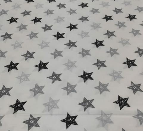 Бязь Ranforce серо-черные звезды нарисованные