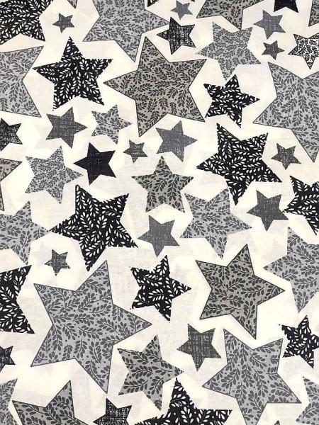 Бязь Ranforce  серо-черные звезды
