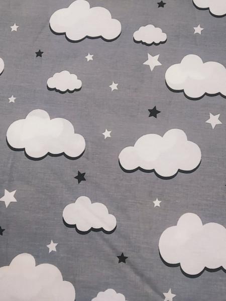 Бязь Ranforce белые облака на темно-сером фоне крупные