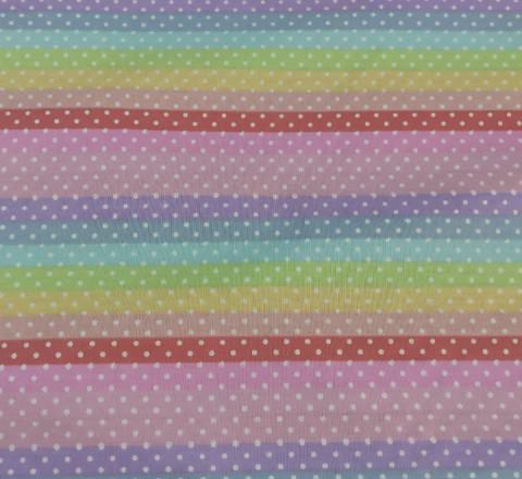 Бязь Ranforce радужная полоса (основные тона: розовый, голубой, желтый)