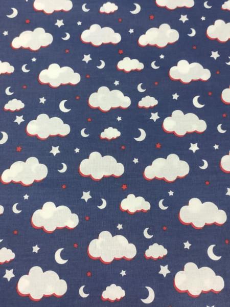 Бязь Ranforce белые облака на темно-синем фоне средние