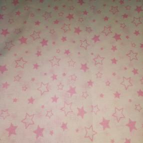 Бязь модная. Розовые звездочки на белом фоне