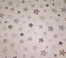 Бязь Ranforce  серо-коричневые звезды заштрихованные