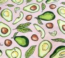 Бязь Ranforce  Акварельные авокадо на пыльно-розовом фоне