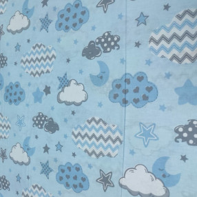 Бязь Ranforce голубые облака-зигзаги