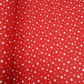 Бязь Ranforce белые звезды на красном фоне маленькие