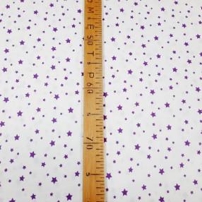 Бязь Ranforce фиолетовые звезды на белом фоне маленькие