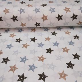 Бязь Ranforce  серо-коричневые звезды нарисованные